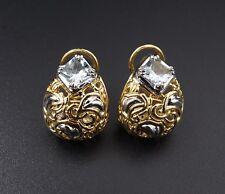 John Hardy 18k White Yellow Gold Filigree Buddha Belly Aquamarine Earrings EG996