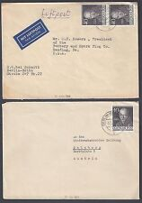 GERMANY BERLIN 1953 WILHELM HUMBOLDT 40pf PAIR TIED ON AIR MAIL COVER TO US PLUS