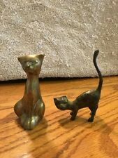 Really Cool Brass Cats, One Standing With His Tail Up & The Other Is Sitting