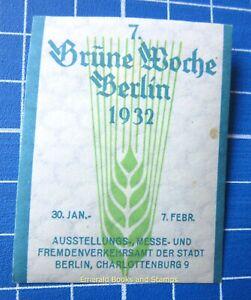 Cinderella Stamp - Germany 1932 - Grüne Woche BERLIN - c92
