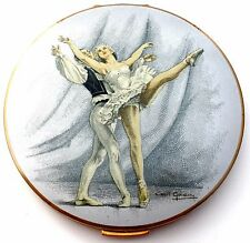 Enamel Stratton Ballet Compact Cecil Golding Hand Painted Vintage Unused