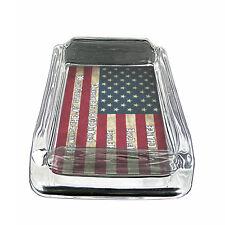 "American Flag D14 Glass Square Ashtray 4"" x 3"" Smoking Cigarette"