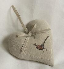 Lavender Heart PHEASANT LINEN  Fabric  Flohr & Co  Linen Ribbon EASTER GIFT
