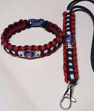 Cleveland Indians Handmade Custom Sized Paracord Bracelet & Paracord Lanyard Set