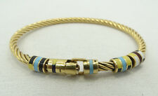 "Wow Stunning 18K Yellow Gold Twisted Ribbed Sliding Enamel 7.5"" Bracelet A2944"