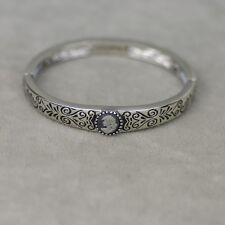 Lia sophia signed jewelry vintage silver tone stretch pattern bangle bracelet