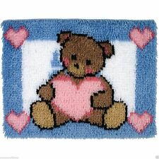 "Teddy With A  Heart Latch Hook Kit 20x27"" From Caron"