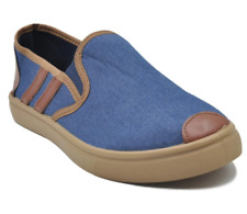 Tanggo Ash High Quality Denim Men's Slip-On Casual Shoes (blue/brown)