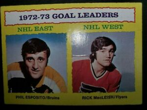 Phil Esposito Rick MacLeish Goal Leaders 1973-74 Topps #1 NHL Hockey Card VG