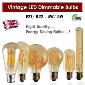 Vintage Filament LED Edison Bulb Dimmable B22/E27 Decorative Industrial Light A+