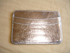 Chicos Silver Leather 3 Slot 1 Center Open Pkt Small Card Case Wallet Chico New