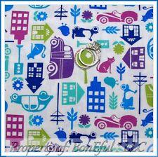 BonEful FABRIC Cotton Quilt Baby Blue House City Cat Bird Bike Car Flower SCRAP