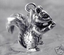 NICE Squirrel & nut Sterling Silver Charm 3D Pendant Jewelry