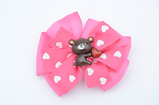 Big Huggable Valentine Bear Pink Pinwheel Hair bow