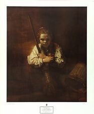 REMBRANDT Form-Attrib Vintage 1965 Rare OOP Collograph A GIRL WITH A BROOM, NYGS