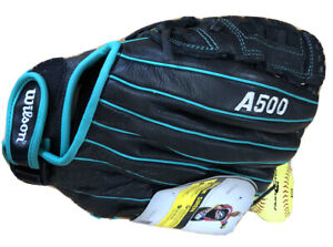 "NWT Wilson A500 Siren Fastpitch Softball Mitt Glove Black/turquoise12"" LHT Adult"