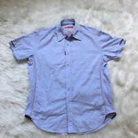 Robert Graham The Freshly Laundered Men's Shirt Size Large Blue Short Sleeve