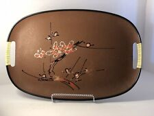 Vintage Oval Japanese Particle Wood Tray with handles