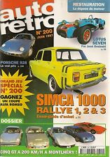 AUTO RETRO 200 5 GT à 200KM/H SIMCA 1000 RALLYE 1 2 3 LOTUS SEVEN PORSCHE 928