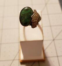Retro Sterling Silver Green Stone Leaf Ring sz. 6.5
