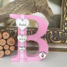 Personalised Freestanding Wooden Letter for Newborn, New Baby or Christening