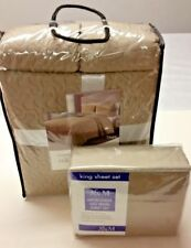 King 7 Piece Quilt Taupe and Gray Reversible Coverlet Set and Sheet Set