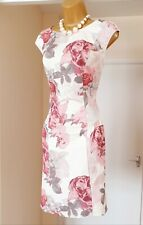White Pink Floral Textured Summer Holiday Tea Party Dress - Size 16