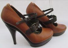 Faith size 5 (38) tan leather high heel platform courts