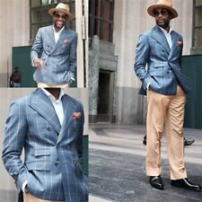 Formal Blue Men's Suits Double Breasted Plaid Gentleman Leisure Coat For Wedding