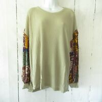 New Umgee Top XL Green Waffle Knit Paisley Puff Sleeve Boho Peasant Plus Size