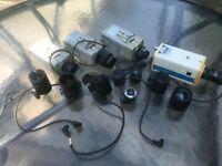 Sony CCD-IRIS Black White Video Surveillance Camera LOT of Cameras & Lenses