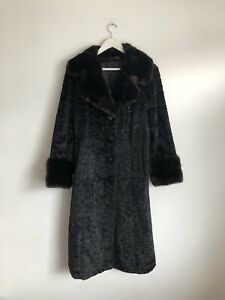 Astraka Black Brown Long Faux Fur Coat WWF Designer Size 10 12 Vintage Textured