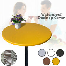 Elastic Waterproof Oil Proof Round Tablecloth Table Cover Solid Color Bar Party
