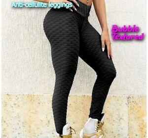 Women Honeycomb Anti Cellulite Waffle Leggings, High Waist Yoga Pants Bubble