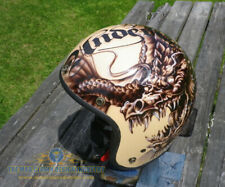 Custom painted low profile open face helmet - Dragon and Koi tattoo style