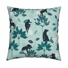 Panther Panther Tropical Mint Throw Pillow Cover w Optional Insert by Roostery