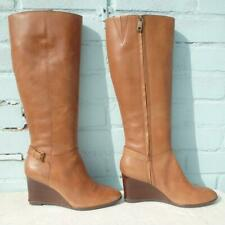 Ralph Lauren Leather Boots Size UK 7.5 US 10B Womens Ladies Wedge Brown Boots