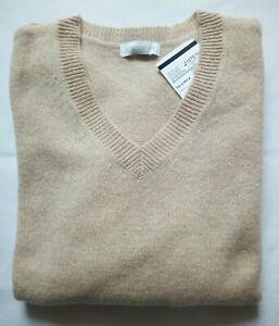 Brookshire P&C Damen Pullover Gr.L/40 Lammwolle 80% beige Mel. V-neck UVP40€NEU