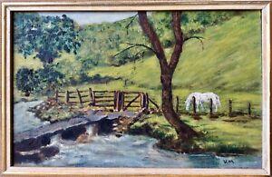 Genuine 1900s Signed Oil Painting,YORKSHIRE MOORS Impressionist Landscape,Framed