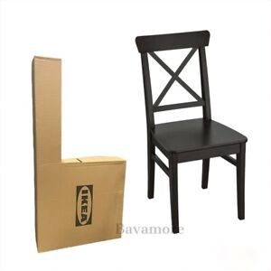 IKEA INGOLF Dining Chair, brown-black 602.178.22 SOLID WOOD BRAND NEW-