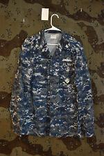 USN Navy Working Uniform NWU Blueberry Digital Camo Jacket Patches Medium Long