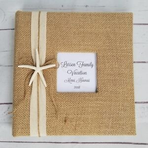 Starfish Photo Album -Holds 160 pictures - Beach burlap vacation wedding gift
