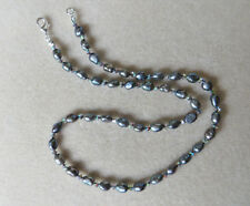 Handmade peacock grey freshwater pearl and swarovski crystal necklace N748