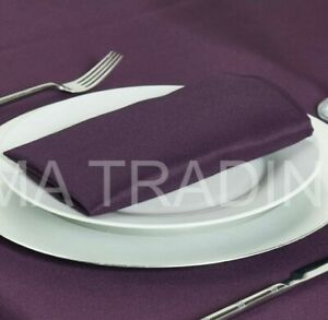 PLAIN FABRIC EGG PLANT POLYESTER NAPKINS SERVIETTES MACHINE WASHABLE WEDDING UK