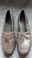 Hotter Caprice Ladies Leather Metallic Bronze Cut Out Floral Detailed Wedge Shoe