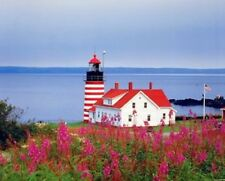 West Quoddy Head Lighthouse Ocean Seascape Scenery Wall Picture Art Print (8x10)