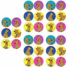 30 X Dot Stickers Scooby Doo Dog Hero Cartoon Lovable Faces Posing Favours