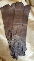 Vintage Real Kid Leather made in Western Germany  Brown Womens Gloves Sz 6 1/2