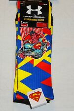 Under Armour Mens Red Blue & Yellow Alter Ego Superman Crew Socks Medium    NWT