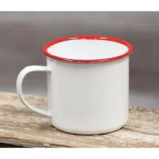 "Red Rim Enamel Coffee Mug 3""h x 4.5""w"